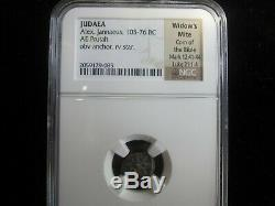 1 -NGC SLABBED ANCIENT ROMAN COIN PRUTAH WIDOWS MITE in The Bible 103-76 BC