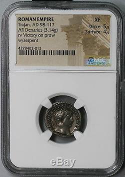 101 TRAJAN NGC XF Roman Empire Denarius Victory Ship Coin 5/5 4/5 (18100204CZ)