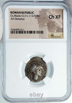 112BC Roman Republic Rome GENERAL SCIPIO AFRICANUS Silver Coin NGC i88367