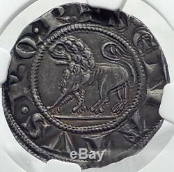 1256AD ITALY Papal States ROMAN SENATE Senatorial Silver Grosso Coin NGC i82369