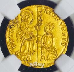 1439, Papal States, Roman Senate. Gold Ducat (Zecchino Type!) Coin. NGC UNC+