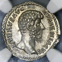 163 Lucius Verus NGC MS Roman Empire Denarius Mars Mint State Coin (19060903C)
