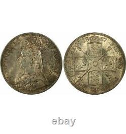 1887 Great Britain 4 S Shillings ROMAN I In Date Silver Coin MS 63 RARE
