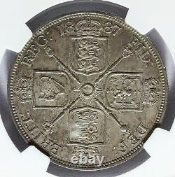 1887 Great Britain 4 Shillings Double Florin ROMAN I Silver Coin NGC MS 63