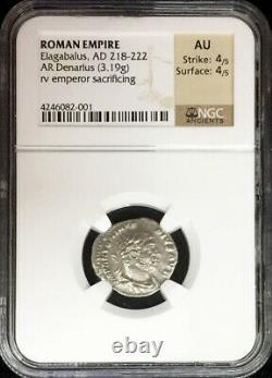 218 222 Ad Silver Roman Empire Denarius Elagabalus Sacrificing Coin Ngc Au