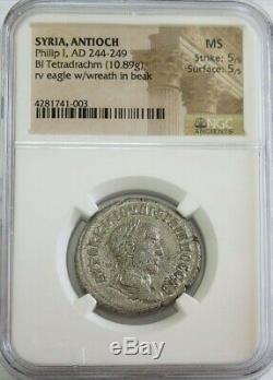 244- 249 Ad Silver Roman Empire Bi Tetradrachm Philip I Coin Ngc Mint State 5/5