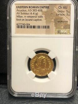 383-408 AD Eastern Roman Empire ARCADIUS Gold Coin AV SOLIDUS-Milan-NGC AU