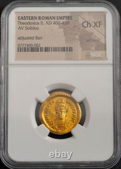 450, Eastern Roman Empire, Theodosius II. Rare Gold Solidus Coin. NGC Choice XF