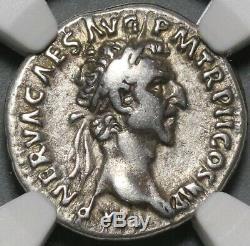 97 NGC VF Nerva Roman Empire Denarius Aequitas Scales Silver Coin (20071501C)