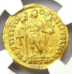 AD 364 375 Western Roman Empire Valentinian I AV Solidus gold coin NGC Ch VF
