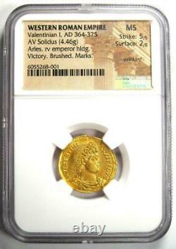 AD 364 375 Western Roman Empire Valentinian I AV Solidus gold coin NGC MS