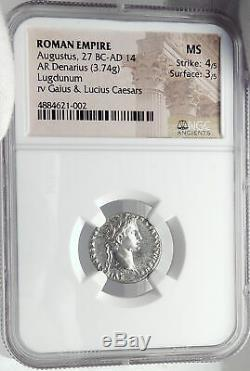 AUGUSTUS Biblical Jesus Christ Time RENDER CAESAR Silver Roman Coin NGC i82352