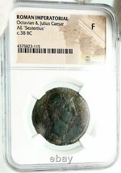 AUGUSTUS & Divus JULIUS CAESAR 38BC Sestertius Ancient Roman Coin NGC i60232