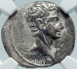 AUGUSTUS Moon Birth SIGN CAPRICORN Zodiac Spain Silver Roman Coin NGC i86393