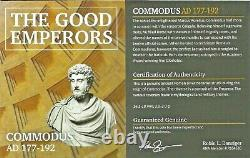 Ancient Roman Emperor Commodus Silver Coin NGC Certified VF & Story, Certif
