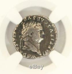 Ancient Roman Empire TITUS Silver AR Denarius Coin 79-81 AD NGC F Sol Column