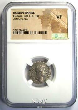 Ancient Roman Hadrian AR Denarius Coin 117-138 AD Certified NGC VF