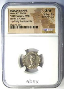 Ancient Roman Nero AR Denarius as Caesar Coin 54-68 AD Certified NGC Choice VF