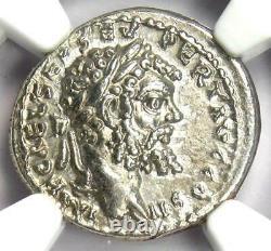 Ancient Roman Septimius Severus AR Denarius Coin 193-211 AD Certified NGC AU