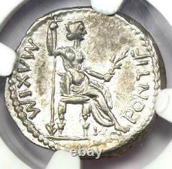 Ancient Roman Tiberius AR Denarius Silver Coin 14-37 AD. Certified NGC Choice VF