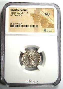 Ancient Roman Trajan AR Denarius Silver Coin 98-117 AD Certified NGC AU Rare