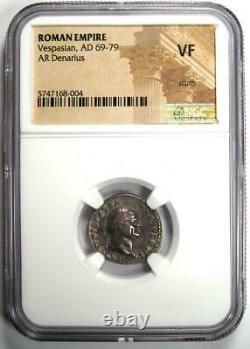 Ancient Roman Vespasian AR Denarius Silver Coin 69-79 AD Certified NGC VF