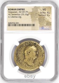 Ancient Vespasian AD 69-79 ROMAN EMPIRE AE Sestertius NGC VG Coin