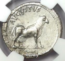 Augustus AR Denarius Bull Coin 27 BC 14 AD (Pergamum). Certified NGC XF (EF)