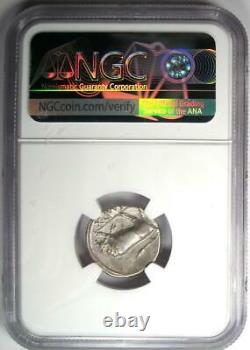 Augustus AR Denarius Coin 15-13 BC (Lugdunum, Bull) NGC Choice VF (Very Fine)