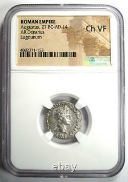 Augustus AR Denarius Coin 15-13 BC (Lugdunum) NGC Choice VF (Very Fine)