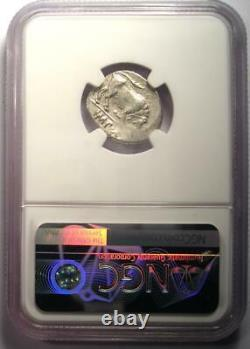 Augustus AR Denarius Coin 27 BC 14 AD, Lugdunum Certified NGC Fine