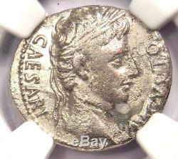Augustus AR Denarius Coin 27 BC 14 AD, Spanish Mint Certified NGC Fine