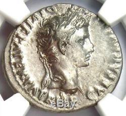 Augustus AR Denarius Silver Coin 27 BC 14 AD (Lugdunum) NGC Choice XF (EF)