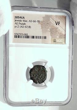 Authentic Ancient JEWISH WAR vs ROMANS 67AD Historical JERUSALEM Coin NGC i81468