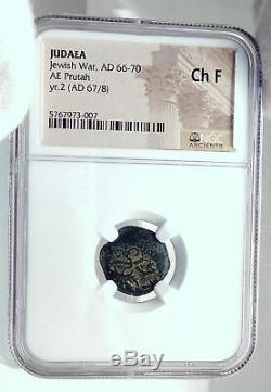 Authentic Ancient JEWISH WAR vs ROMANS 67AD Historical JERUSALEM Coin NGC i81526