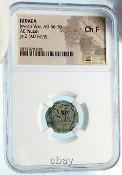 Authentic Ancient JEWISH WAR vs ROMANS 67AD Historical JERUSALEM Coin NGC i83926