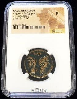 C. 16/15 -10 Bc Rome Gaul Nemausus Agustus & Agrippa Ae Dupondius Coin Ngc Fine