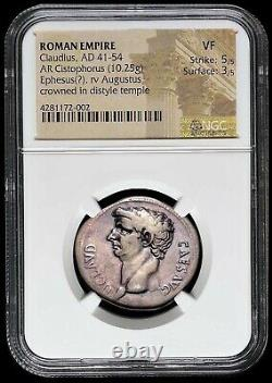 CLAUDIUS Ephesus AR Cistophorus (Silver Cistophoric Tetradrachm) Roman Coin NGC