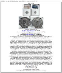 CLAUDIUS Very Rare DENARIUS Authentic Ancient 46AD Silver Roman Coin NGC i81778