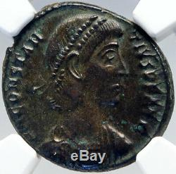 CONSTANTIUS II Genuine Ancient GLADIATOR Styl BATTLE SCENE Roman Coin NGC i82604