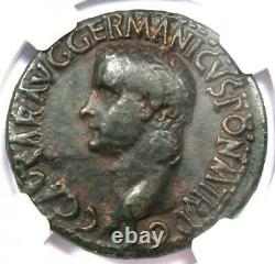 Caligula AE As Copper Coin 37-41 AD Certified NGC Fine Rare Roman Coin