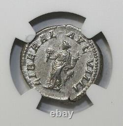Caracalla 198-217 AD AR Silver Denarius NGC AU Ancient Roman Coin RIC. 302