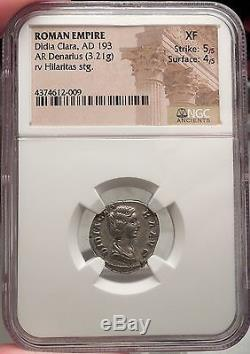 DIDIA CLARA April-June193AD Authentic Ancient Silver Roman Coin NGC XF EXT RARE