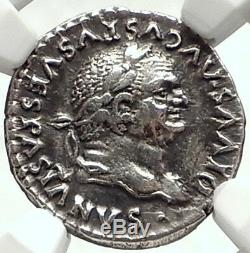 Divus VESPASIAN 80AD Ancient Silver Roman Coin of TITUS w CAPRICORNS NGC i68164