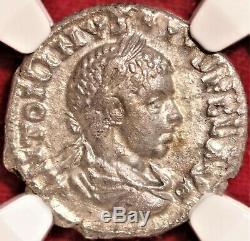 E-Coins Australia Elagabalus AR Denarius NGC Ch VF Roman Imperial CONCORD MILIT