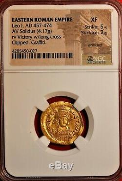 E-Coins Australia Leo I Gold AV Solidus. 457-474AD. Eastern Roman Empire NGC XF