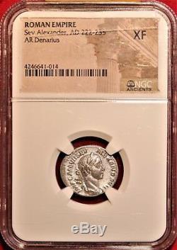 E-Coins Australia Severus Alexander AR Denarius NGC XF Roman Imperial coin
