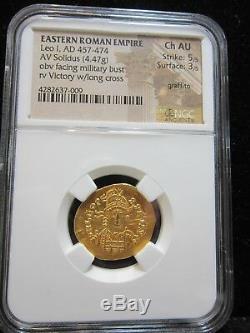 Eastern Roman Empire Leo I AD 457-474 AV Solidus (4.47g) NGC CH AU Gold Coin