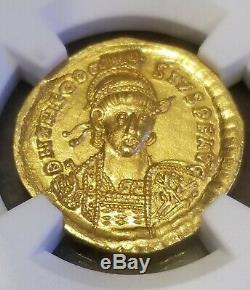 Eastern Roman Empire Theodosisus Gold Solidus NGC MS 5/4 Ancient Coin