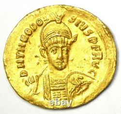 Eastern Roman Theodosius II AV Solidus Gold Coin 402 AD NGC MS UNC (Certificate)